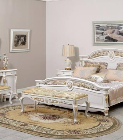 Dormitor Apollo alb auriu fara dulap